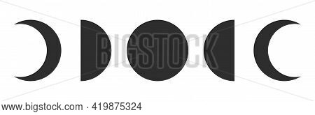 Moon Phases. Astronomy Icon Set. New Moon To Full Moon Isolated On White Background. Vector Illustra