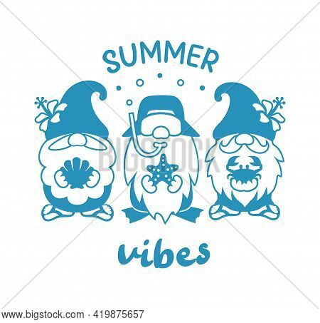 Summer Vibes Quote With Beach Gnomes Sign. Vector Summer Silhouette Illustration.