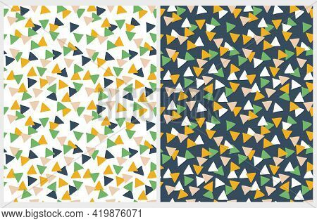 Abstract Geometric Vector Seamless Pattern. Dark Blue, Green, White And Yellow Hand Drawn Triangles