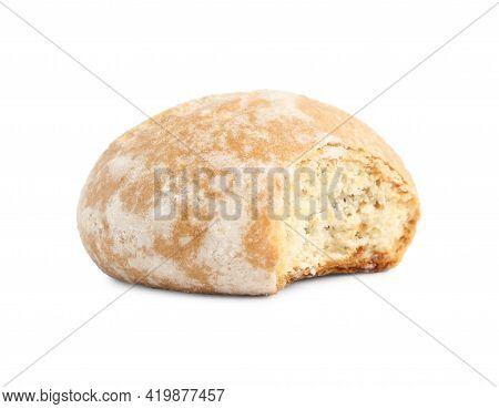 Tasty Bitten Gingerbread Cookie On White Background