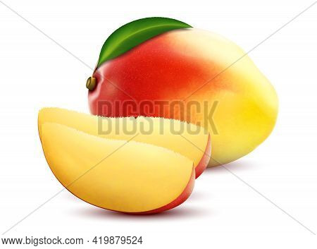 Mango Fruits. Sweet Fruits. Whole And Slice Mango Fruit With Leaf, 3d Realistic Isolated Vector, Edi