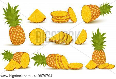Pineapple Set. Pineapple Collection. Whole And Sliced Pineapple Isolated On White Background With Cl