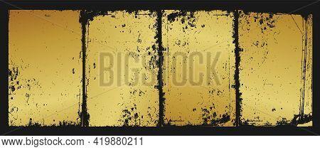 Vintage Aged Gold Grunge Background, Vector Illustration. Set Of Designer Frames, Gilded Wall.