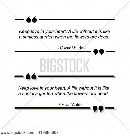 Quote Text Box Frame. Quotation Comment Speech Message Texting Template. Motivation Memo .