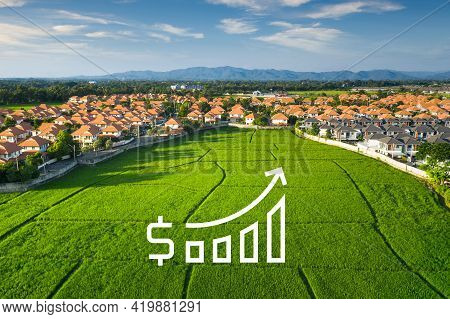 Land For Sale And Investment In Aerial View. Include Green Field, Agriculture Farm, Residential Hous