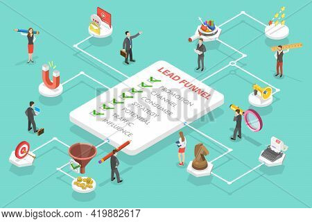 3d Isometric Flat Vector Conceptual Illustration Of Lead Generation Marketing Strategy. Process Of C