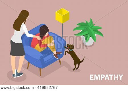 3d Isometric Flat Vector Conceptual Illustration Of Empathy, Ability To Emotionally Understand What