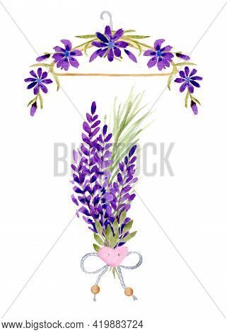 Composition With Watercolor With Wildflowers And Lavender Flowers Bouquet With Lavender And Bow With