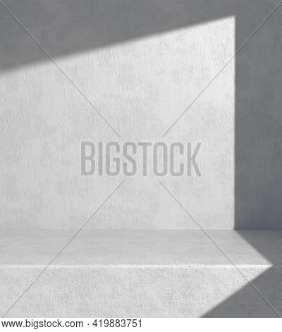 Modern Minimal Space For Show Product With Sunshade On Concrete Wall Background 3d Render