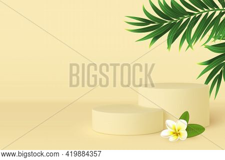 Vector 3d Podium Scene With Tropical Leaves And Plumeria Flower. Mockup For Product Presentation Wit