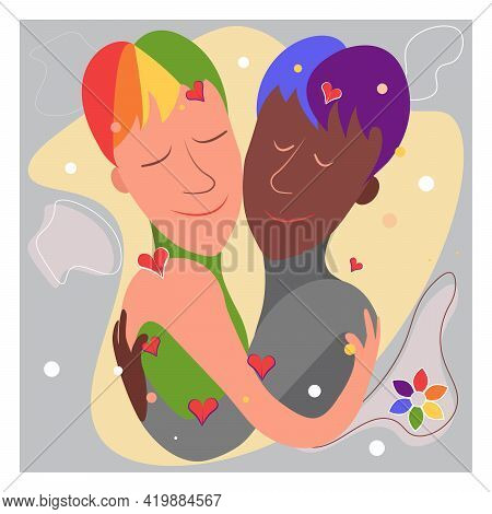Two Gay Men, Black And White. Lgbt Couple And Portrait Of Cute Young People Hugging Each Other. Cart