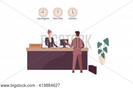 Woman Receptionist Behind Workplace In Hotel Or Bank Lobby Talking With Guest. Interior Of Modern Re