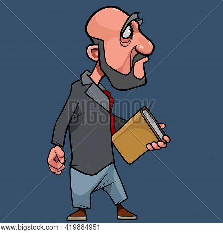Cartoon Bearded Man In Suit With Tie And Book In Hand Looking Away With Annoyance