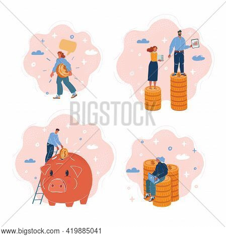 Vector Illustration Of Bundle Of Rich Men And Women With Money. Big Stack Of Coin And Little People