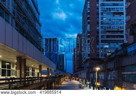 Madrid - May  1, 2021: Wide-angle View Of The Alleys And Modern Buildings In The Azca Business And F