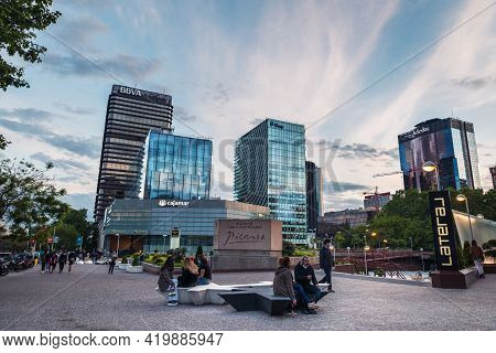 Madrid - May 2, 2021: Wide-angle View Of Azca Business And Financial District In Madrid At Dusk, Spa