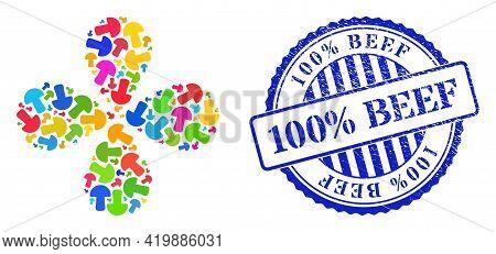 Mushroom Colorful Swirl Burst, And Blue Round 100 Percent Beef Textured Stamp Seal. Object Burst Com