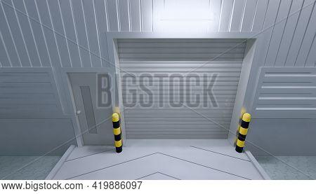 3d Rendering Of Roller Door Or Roller Shutter. Also Called Security Door Or Security Shutter. For Pr