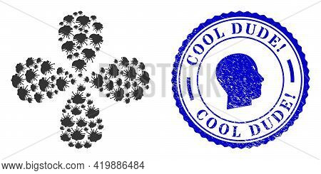 Coronavirus Man Head Twirl Flower With Four Petals, And Blue Round Cool Dude Exclamation. Unclean St
