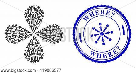 Direction Arrow Centrifugal Flower With Four Petals, And Blue Round Where Question. Rough Stamp Imit