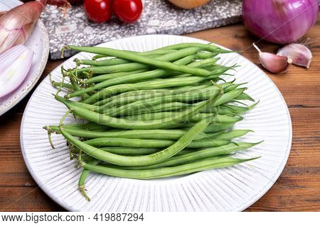 Fresh Uncooked Green Beans Haricot Verts Legumes