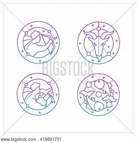 Zodiac Gradient Icons Set.fourth Fire Signs In Zodiac.birth Symbols.aquarius, Sagittarius, Capricorn
