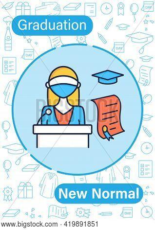 Graduation New Normalbrochure. Professor Gives Students Education Documents Template. Flyer, Magazin