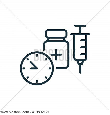 Time To Vaccinate Line Icon. Syringe With Vaccine, Clock. Vaccine For Influenza, Coronavirus. Syring