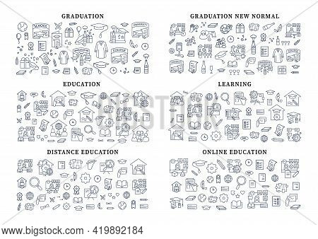 Graduation Banner Icons. New Normal, Education, Learning, Distance, Online Lesson. Template For Land