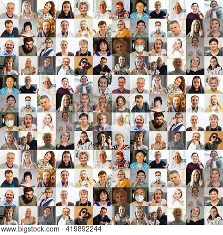 Hundreds Of Multiracial People Crowd Portraits Headshots Collection, Collage Mosaic. Many Lot Of Mul