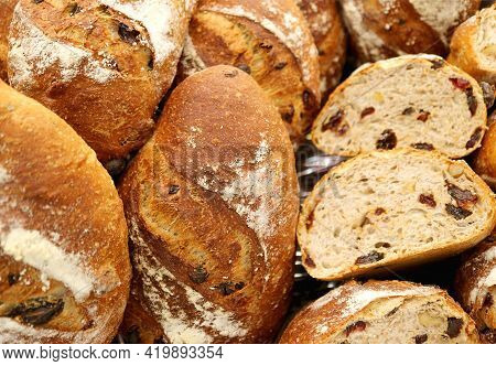 Heap Of Delectable Raisin And Walnut Whole Wheat Breads
