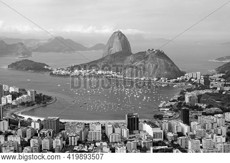 Monochrome Aerial View Of Rio De Janeiro With The Famous Sugarloaf Mountain As Seen From Corcovado H