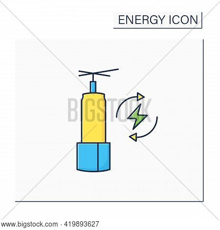 Energy Storage Color Icon. Long-duration Energy Warehouse. Manage Power. Electricity Concept. Isolat