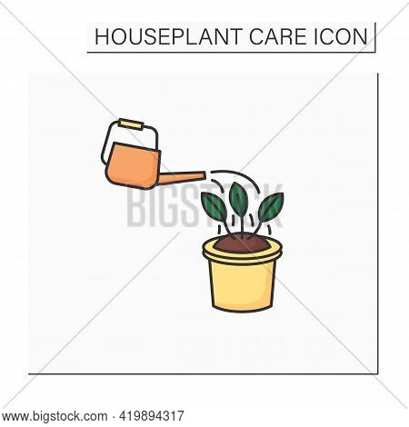Watering Color Icon. Watering Houseplant. Home Gardening. Beautiful Home Plant In Pot. Houseplant Ca