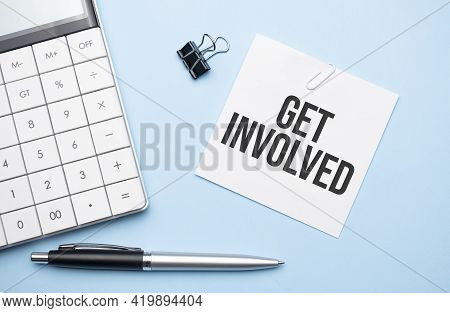 On A Blue Background, Glasses, Calculator, Coffee, Magnifier, Pen And Notebook With The Text Get Inv
