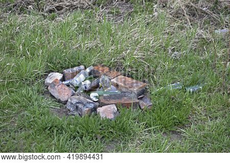 Discarded Garbage In The Wild Environmental Pollution