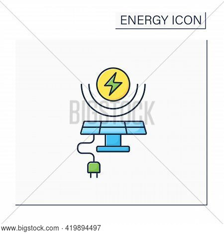 Solar Energy Color Icon. Conversion Of Power From Sunlight Into Electricity. Solar Battery. Renewabl