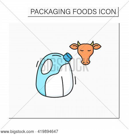 Milk Color Icon. Large Milk Bottle. Protection, Tampering Resistance From Bacteria. Packing Food Con
