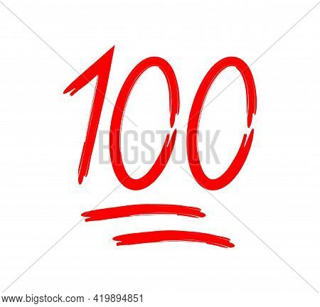 100 Percent. 100 Score. Emoji Of One Hundred. Icon Of Score Points. Emoticon Of Perfect Number. Soci