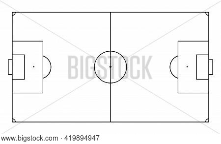 Soccer Field In Line Style. Football Pitch. Black Outline Court And Stadium On White Background. Ico