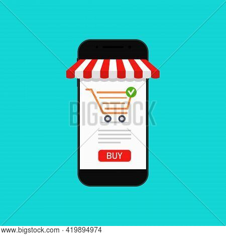Online Shop In Phone. Store In Smartphone. App Of Supermarket With Internet Purchase. Concept Of Onl
