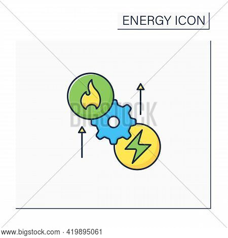 Thermoelectric Generator Color Icon. Seebeck Generator. Thermal Energy Conversion To Electrical Ener