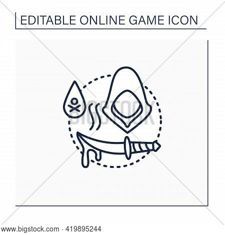 Stealth Games Line Icon.quietly Moves, Hides, Kills Enemies. Runs Task. Mystery Character. Online Ga