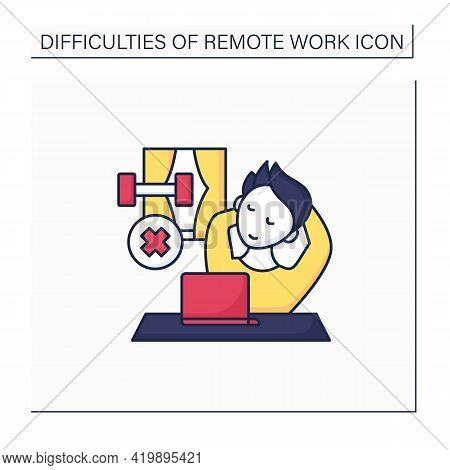 Remote Work Color Icon. Lack Of Physical Activities. Laziness. Tired. Have Not Time To Sport. Career