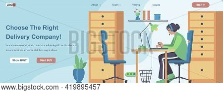 Choose The Right Delivery Company Web Banner Concept. Call Center Operator Processes Orders With Del
