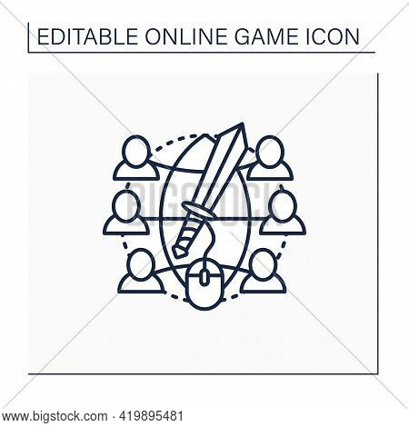 Massive Rpg Games Line Icon. Multiplayer Online Role-play Games. Inviting Friends Playing Together.