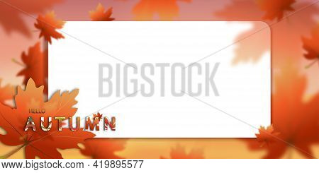 Autumn Sale Background Decorating With Orange Leaves,autumnal Backdrop For Shopping Sale,promo Poste