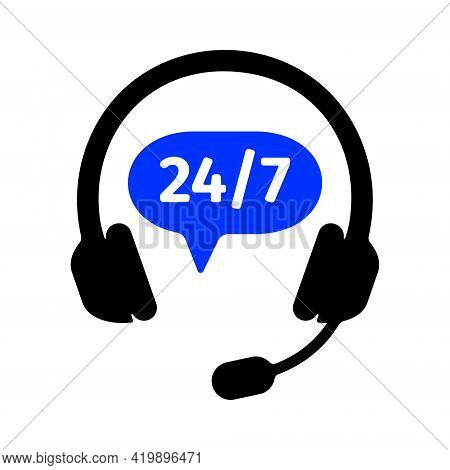 Hotline Icon With Headphones And Round The Clock Sign Isolated On White Background. Client Support O
