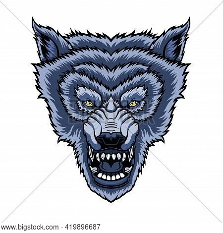 Head Of Roaring Wolf. Vector Illustration For Use As Print, Poster, Sticker, Logo, Tattoo, Emblem An