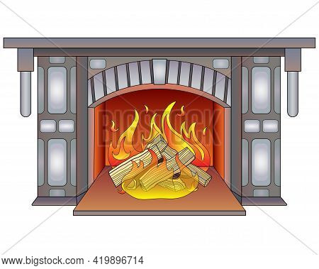 Fireplace With Burning Wood - Vector Full Color Illustration. Burning Hearth. Lit Fireplace, Mantelp